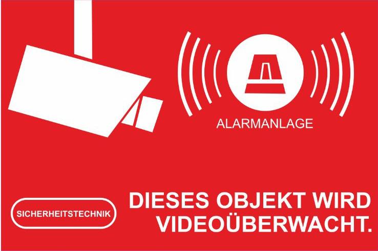 aufkleber video berwachung 5x3cm rot. Black Bedroom Furniture Sets. Home Design Ideas